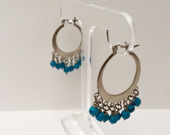 SALE! Vintage Silver Hoop Earrings with Turquoise Beads Vintage Jewelry Gift for Her