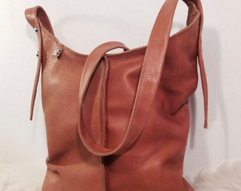 Handmade Bag Leather and Zipper-Handmade Leather Bag Cognac with Zipper
