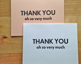Letterpress thank you card – Thank you oh so very much