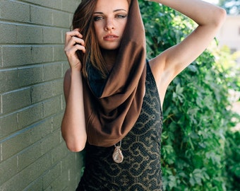 Earth Brown Cowl Festival Hood With Built In Hidden Pocket