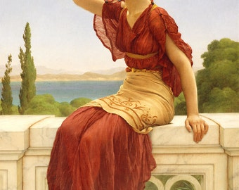 "John William Godward : ""The Signal"" (1899) - Giclee Fine Art Print"