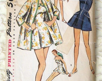 50s Pinup Bathing Suit and Coat. Simplicity 1607. Sewing Pattern. Size 14,  Bust 32""