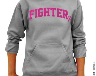 Fighter - Gray with Pink Ink Pullover Hoodie Sweatshirt - Breast Cancer Awareness