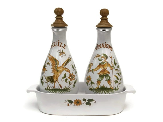 French Olive Oil And Vinegar Bottles Vintage French Moustiers
