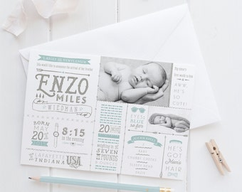 Baby Boy Birth Announcements - Hipster Little Man Newborn Stats Announcement Cards - Printable or Printed
