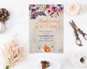 Thanksgiving Dinner Invitation - Thanksgiving Celebration Invite - Printable Invitation - Instant Download