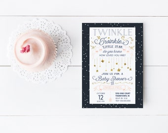 Twinkle Twinkle Little Star Baby Shower Invitation for a Girl - Navy, Pink, and Gold - Printable Invitation - Instant Download