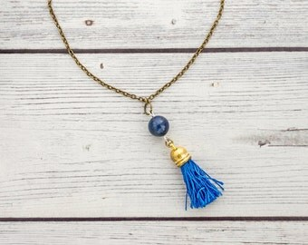 Inspiration - lapis lazuli tassel necklace - september birthstone, navy tassel necklace, boho lapis necklace, indigo, blue necklace