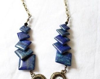 """Necklace """"BLUE SABBATH"""" lapis lazuli - goat - goat"""