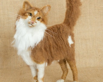 Made to Order Needle Felted Cat: Custom needle felted animal sculpture