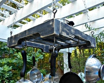 "Hanging Pallet Rail Pot Rack, Industrial Pot Holder, Holds 8 Pots, Rustic Black Distressed Lumber, 22"" X 22"", Sturdy Pot Rack, Above Storage"