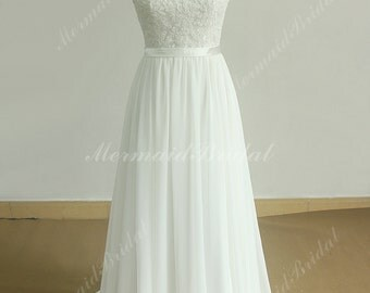 Stunning open back A line chiffon lace  beach wedding dress with sweetheart neckline