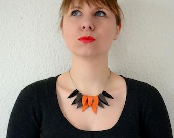Triangle bib necklace, orange necklace, leather statement necklace, leather necklace, Bib geometric necklace, Halloween, girlfriend gift