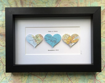 Map wall art - heart maps - wedding gift - 1st Wedding Anniversary gift  - 3 hearts - personalised map art - travel gift - framed art