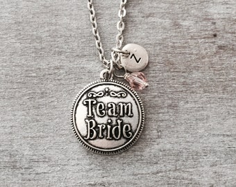 SALE, TEAM BRIDE, Bridesmaid Gift, Bride, Maid of Honor, Matron of Honor, Flower Girl, Mother of the Bride, Silver Necklace, Charm, Gifts