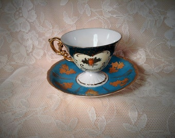 Teal Tea Cup and Saucer - Colorful, Unique Dark Turquoise or Teal with Gold Trim, Embellishments, & Flowers - Old English Fine China Decor