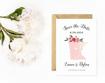 State Save The Date, Minnesota, Pink Watercolor with Flowers
