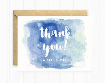 Navy Blue Thank You Cards, Modern Thank You Card, Wedding Invitation Set, Personalized Thank You Card