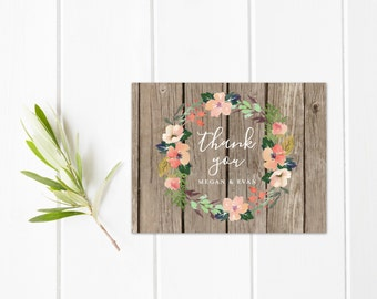 Wood Thank You Cards, Wedding Thank You Cards, Rustic Thank You Card Set