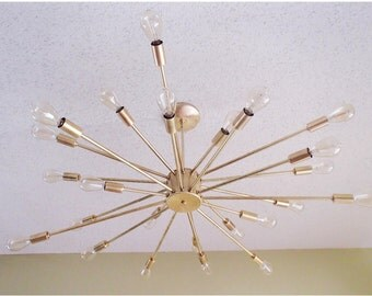 Large 24 Arm Spoked Atomic Sputnik Ceiling Light modern