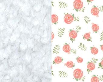 Dainty Pink Flower Blanket, Minky Baby Blanket, Floral Baby Blanket, Pink Baby Blanket, Newborn Blanket, Girl Blanket, Baby Cloud Blanket