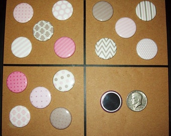 """Button Refrigerator Magnets, 1.25"""", Set of 5, Choice of Designs - Pink and Chocolate Designs"""