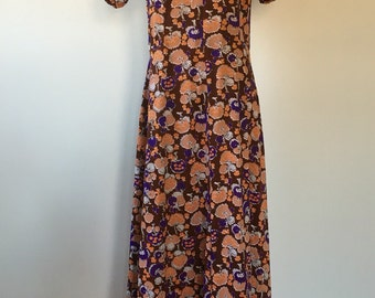 vintage 70's TRIPPY FOREST maxi DRESS with Cut Out Neck - small, medium