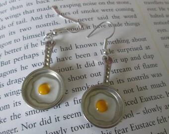 Unusual handmade fried egg earrings