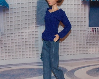 Blue Sweater &  Jeans by Jan.  Handmade Fashion Doll Clothes
