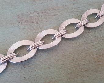 Vintage Signed Crown Trifari Brushed Silver Oval Link Bracelet Pristine