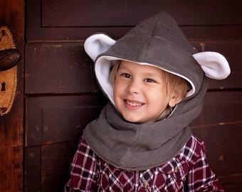 Bear Fleece Hat, Kids Hooded Cowl, Bear Hat for Children
