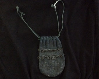 Art Deco Drawstring Metal Beaded Purse