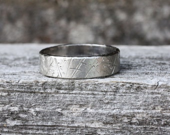Distressed White Gold Wedding Band, 5mm Wide