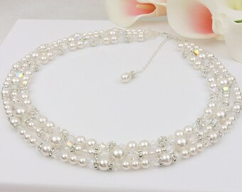 FREE US Ship 3 Strand Swarovski Pearl Crystal And Rhinestone Statement Bridal Necklace With Backdrop 3 Strand Statement Bridal Necklace
