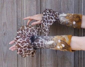 Nuno felted long mittens, merino wool cuffs, designer fashion, boho look, gray and mustard arm warmers, winter accessory, silk frill, OOAK