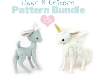 "PDF sewing pattern bundle - Deer Reindeer Unicorn Pegasus stuffed animal with VIDEO tutorials - 2 sizes 5"" 10"" easy plush kawaii"