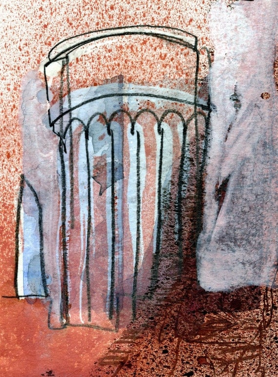Water tower industrial landscape wax and watercolour for Wax landscape