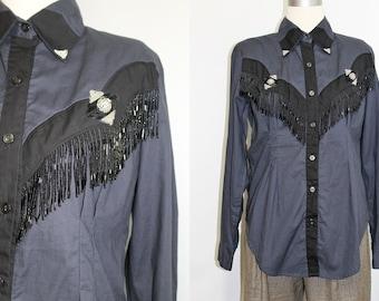 Womens Western Shirt L / Fringe Beaded Western Show Shirt Ladies 80s