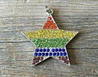 Rainbow Star Rhinestone Pendant, Chunky Bead Pendant, Chunky Necklace, DIY Necklace, Key Chain Attachment
