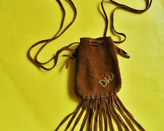 "5 1/2"" x 5 1/2"" Brown Suede Draw String Pouch Purse 6"" Fringe"