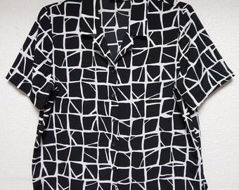 Liz Baker Womens 14 Black + White Short Sleeve Blouse