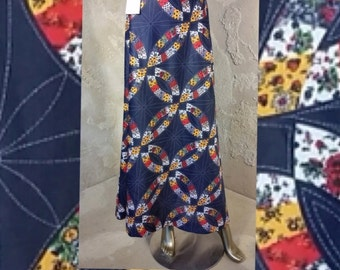 Vintage 70s Navy Maxi Skirt Multi-Color Patchwork Floral Wagon Wheel Print Sheer Fabric