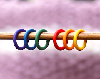 Stitch Markers - knitting supplies, knitting tools, snag free, knitting accessory, stitchmarkers, knitting markers, RAINBOW RINGS, snagless