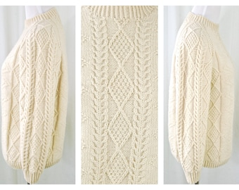 Vtg Wool Fisherman Sweater // 100% Wool Ivory Sweater // Winter White Hand Knit Sweater // Heavyweight Wool // Excellent Vintage Condition