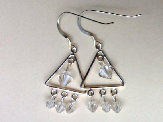 Crystal Clear Sterling Silver Bling Earrings, Dainty Silver Earrings, Triangle Crystal Earrings