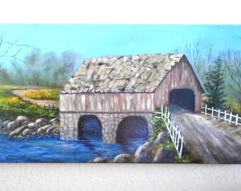 Scenic Bridge House Landscape Canvas Oil Painting