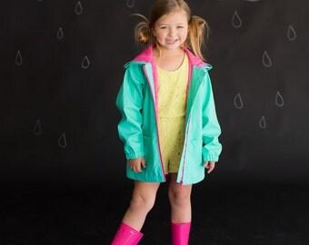 Monogrammed Youth Girls Mint Full-Zip Hooded Rain Jacket Coat