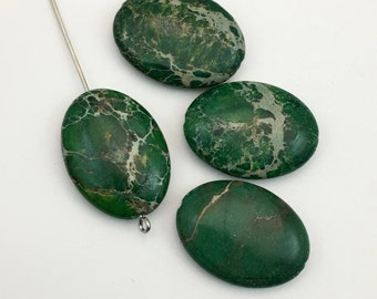 4 dark green impression jasper stone beads  /18mm x 25mm #PP 011