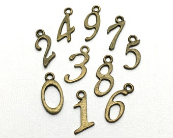 20 number charms bronze tone,19mm # CH 140