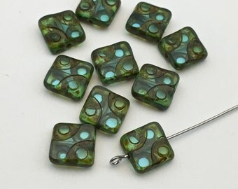 7  Czech  Picasso glass beads carved green ,10mm # PV 072